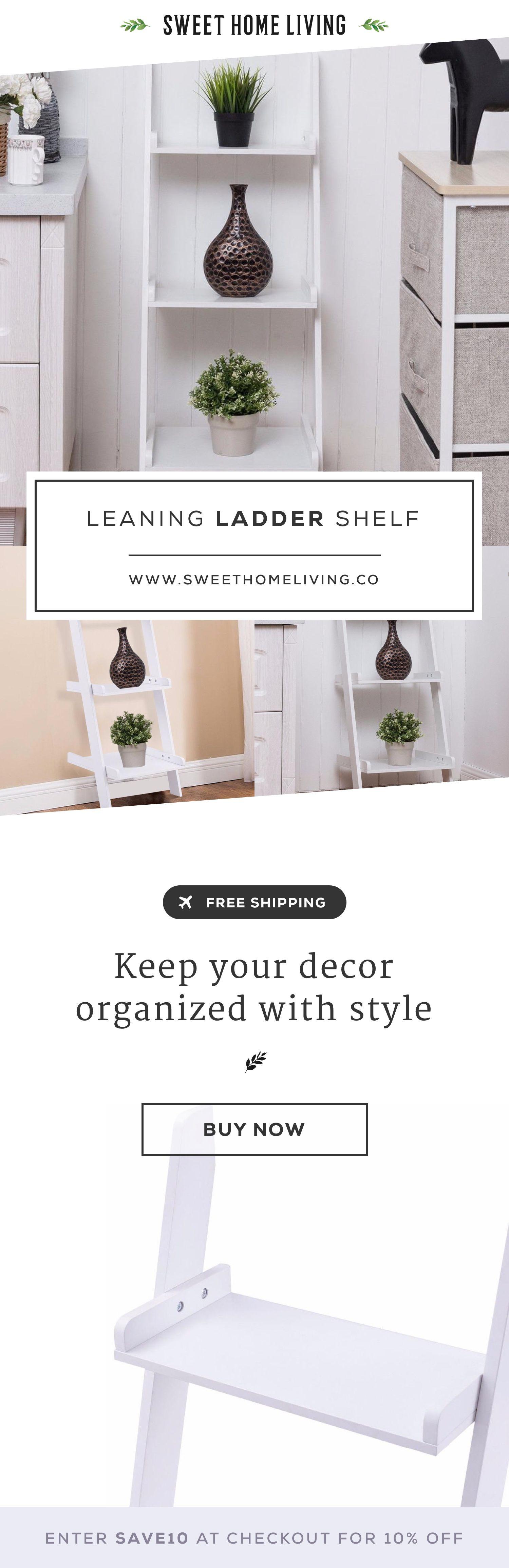 Leaning ladder shelf open shelving design u decor pinterest