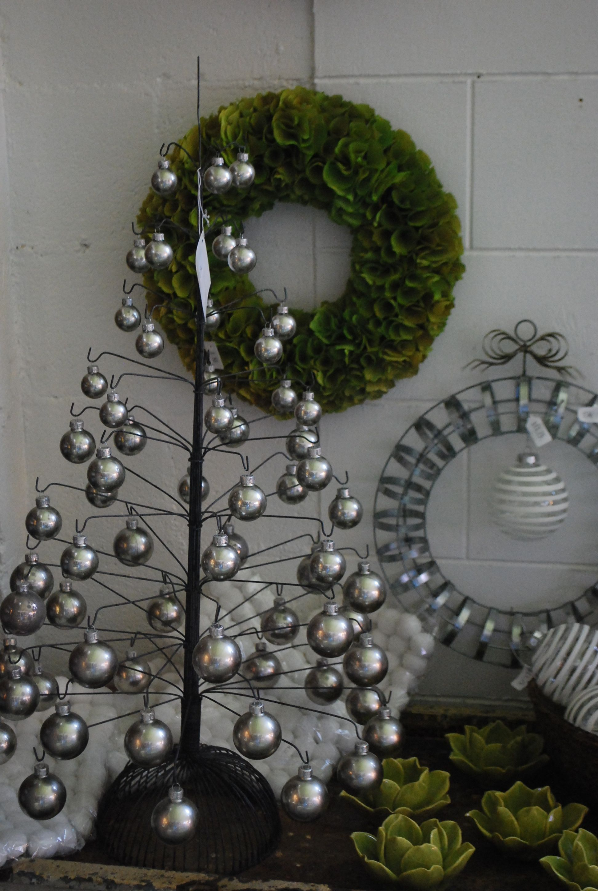 wire tree with pewter colored glass ornaments from Dirt Simple ...