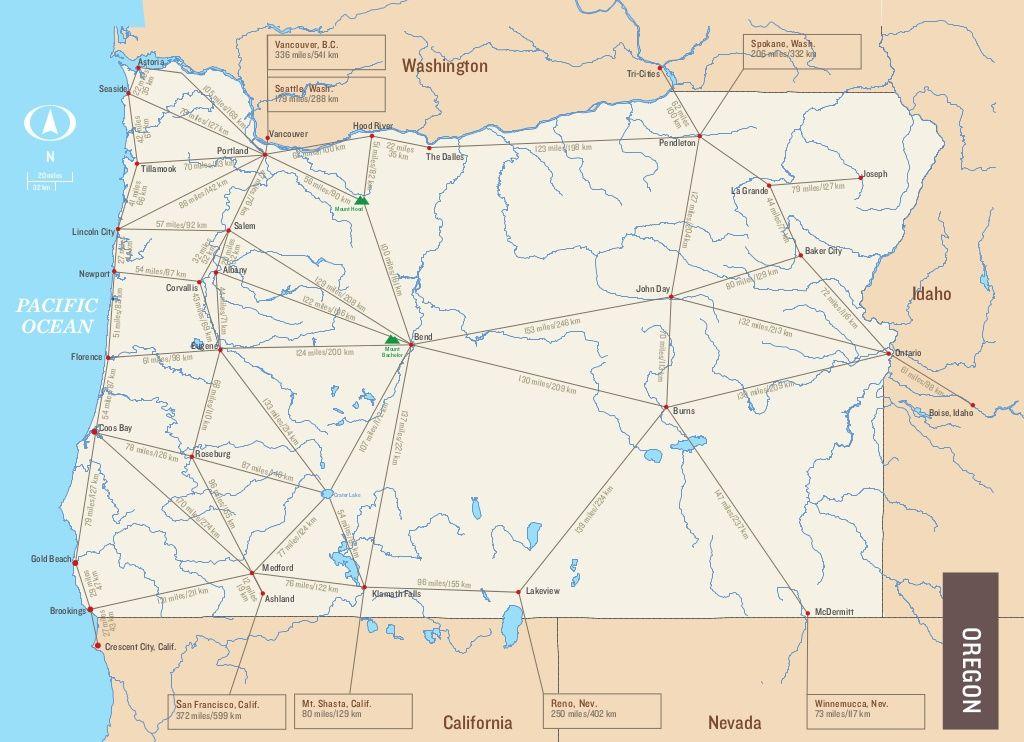 Scott Phinney Oregon Mileage Map Map, Oregon, Mileage