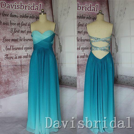 Hot sale open back peacock green ombre chiffon long prom dress,sweetheart  rhinestones cheap formal