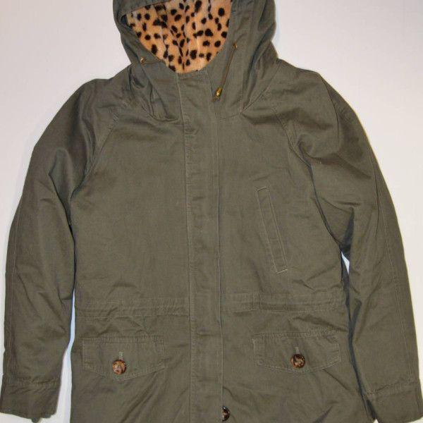 Tres Cuartos Militar   Abrigo Tres Cuartos Color Verde Militar Sport Con Pelo De Leopardo