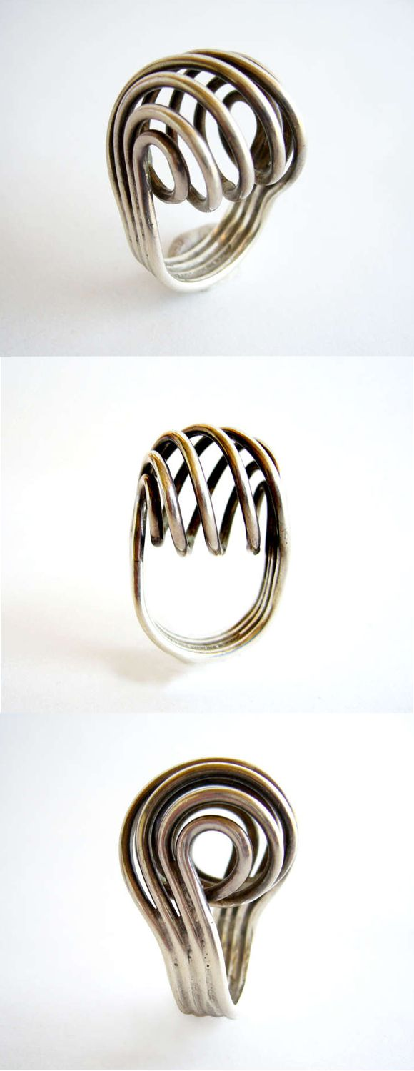 Anna Greta Eker for Plus Sterling Silver Spiral Ring | Offered by Lisa Cliff Collection