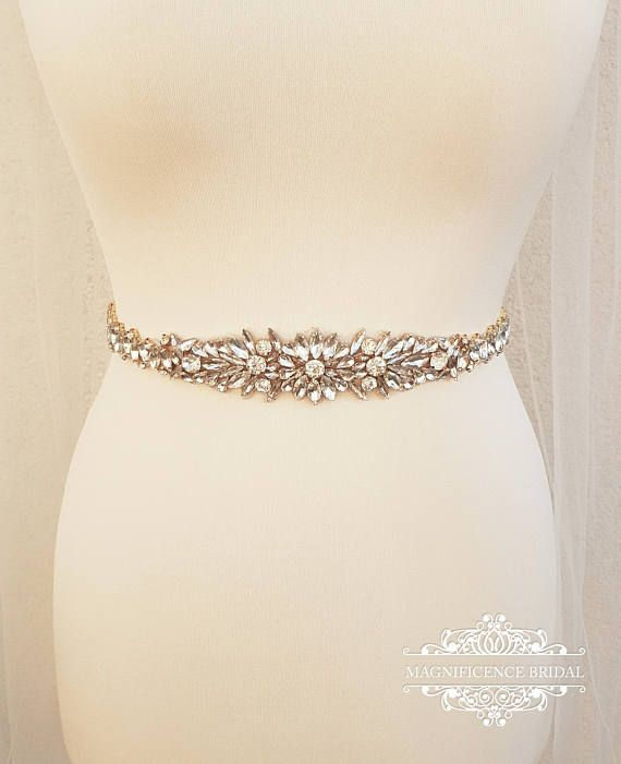 Diamante Rhinestone Bridal Rose Gold Tone Crystal Applique Wedding Sash Belt