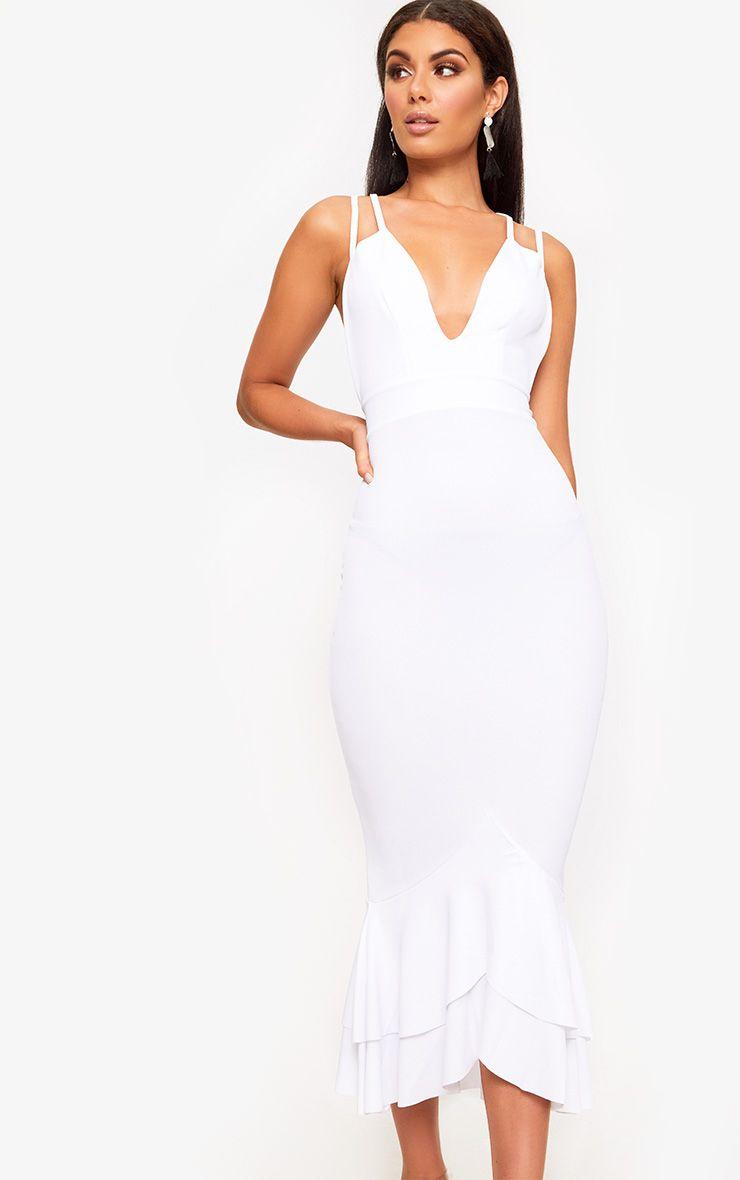 White Strappy Fishtail Midi Dress Fishtail Midi Dress Midi Dress White Midi Dress [ 1180 x 740 Pixel ]