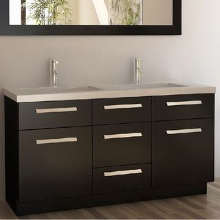 Design Element Perfecta Modern Double Sink Bathroom Vanity Set by ...