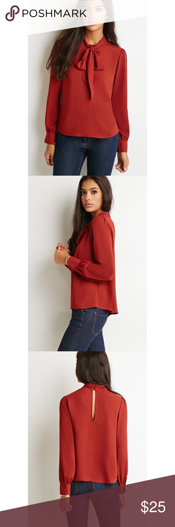 Forever21 Bow High Neck Blouse Nwt In 2018 My Posh Picks