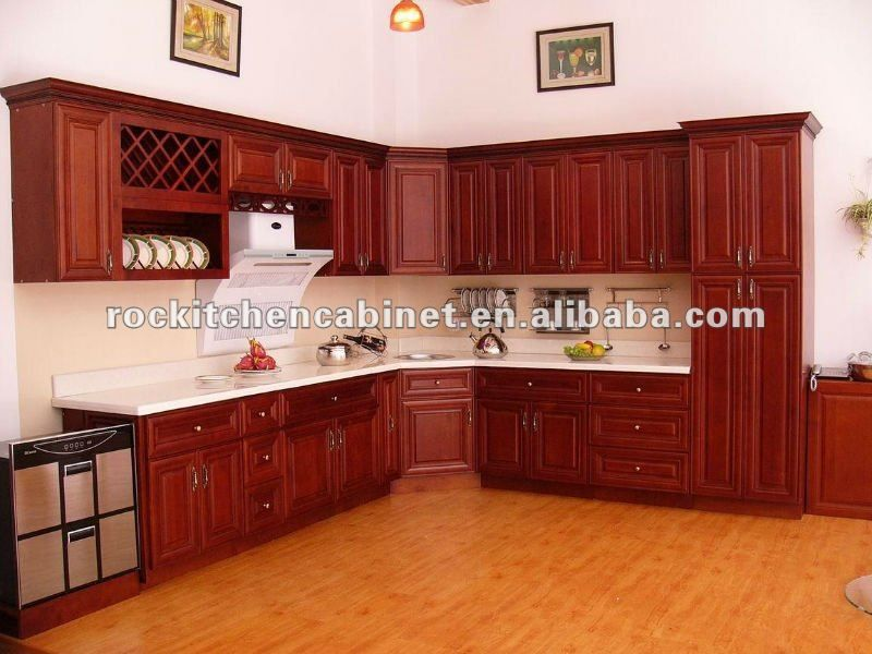 De madera maciza de cerezo del gabinete de cocina armarios Diseno de gabinetes de cocina modernos