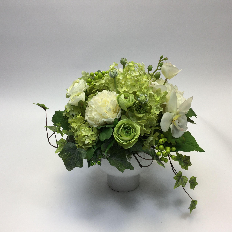 Ranuclus White And Green Artificial Flower Arrangements