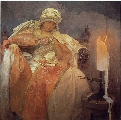 alfons mucha, woman with a burning candle