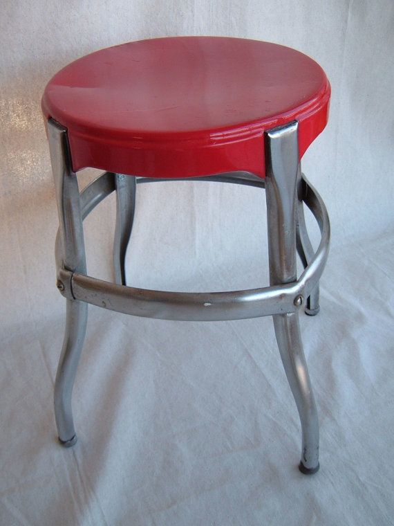 Vintage Red And Chrome Metal Cosco Stool Stool Cosco Vintage Kitchen