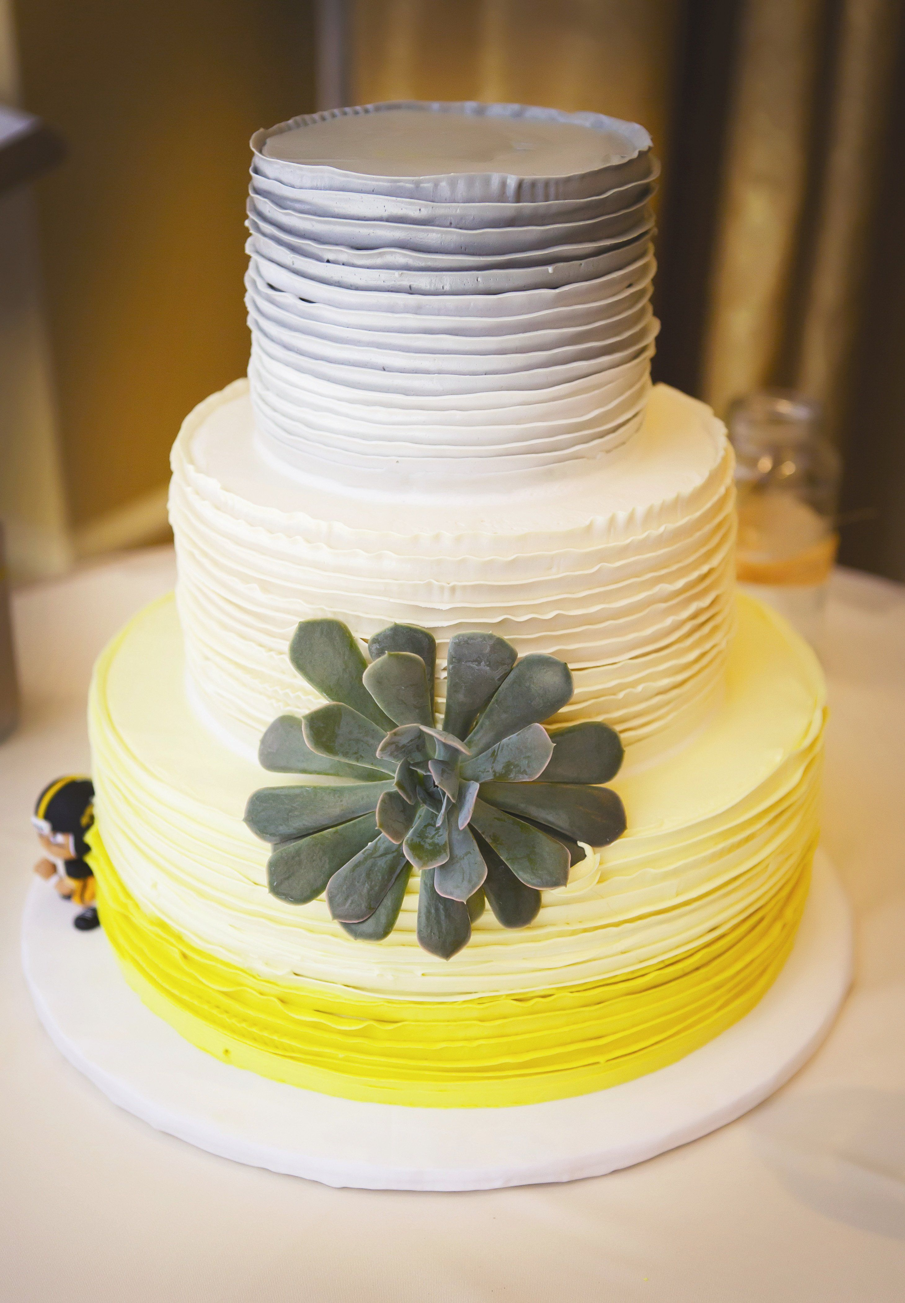 Ombre Gray and Yellow Wedding Cake | wedding ideas for my sister ...