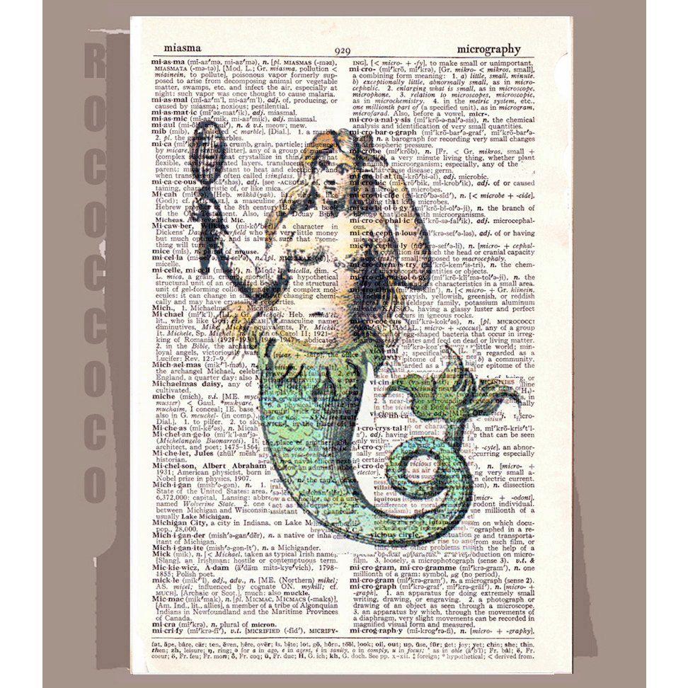 Antique mermaid artwork printed on repurposed vintage