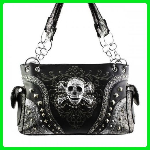 d8a8adb15b Concealed Carry Rhinestone Skull Embroidered PU Leather Women s Handbag  Texas West Coin Collection in 4 Colors(Black) - Shoulder bags ( Amazon  Partner-Link)