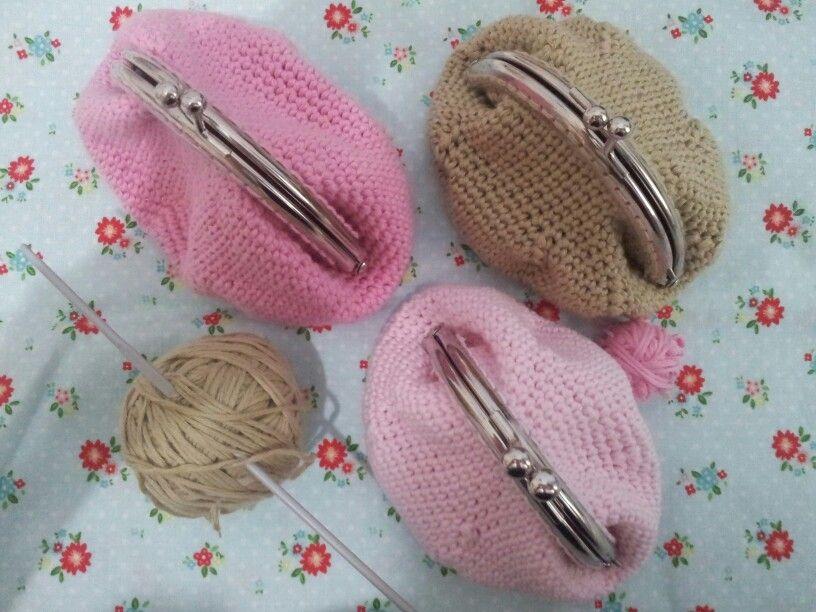 monederos de crochet hechos por mi