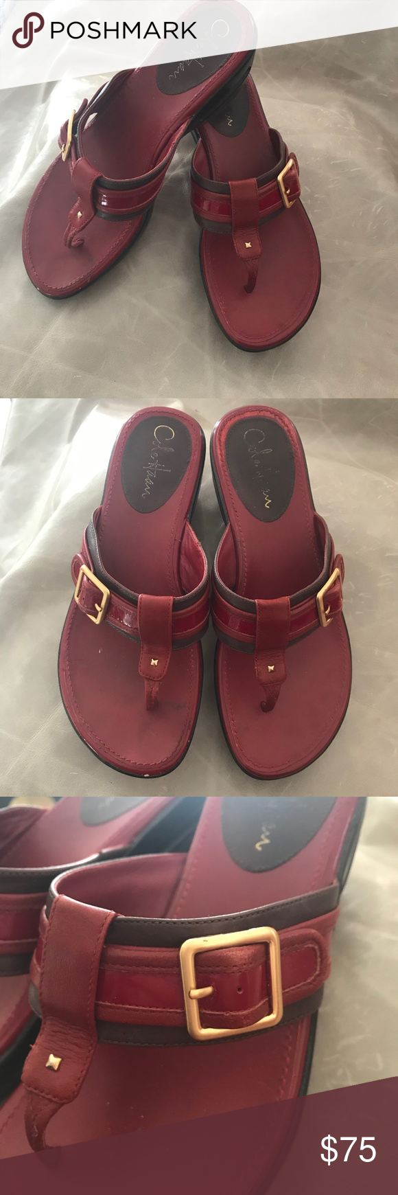 3dcff3bbf40 Cole Haan Red Maddy Wedge Sandals 8M Nike Air Cole Haan Maddy Tant style  100%