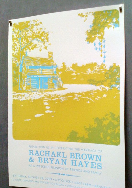 Screen Printed Poster Size Wedding Invitations Via Oh So Beautiful Paper