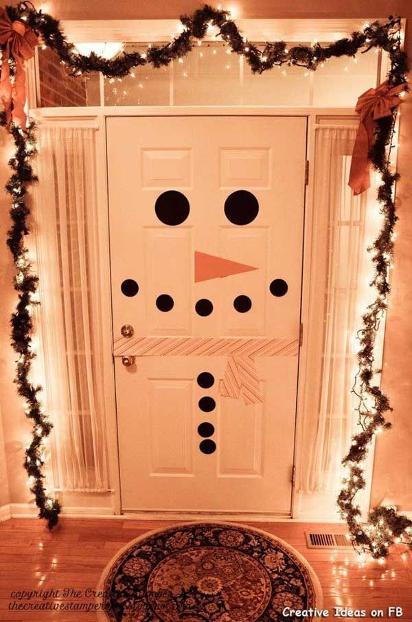 Diy  snowman door how cute and simple is this if you have white would be fun  do on our refrigerator but the an also christmas season right around corner  it  time to start rh pinterest