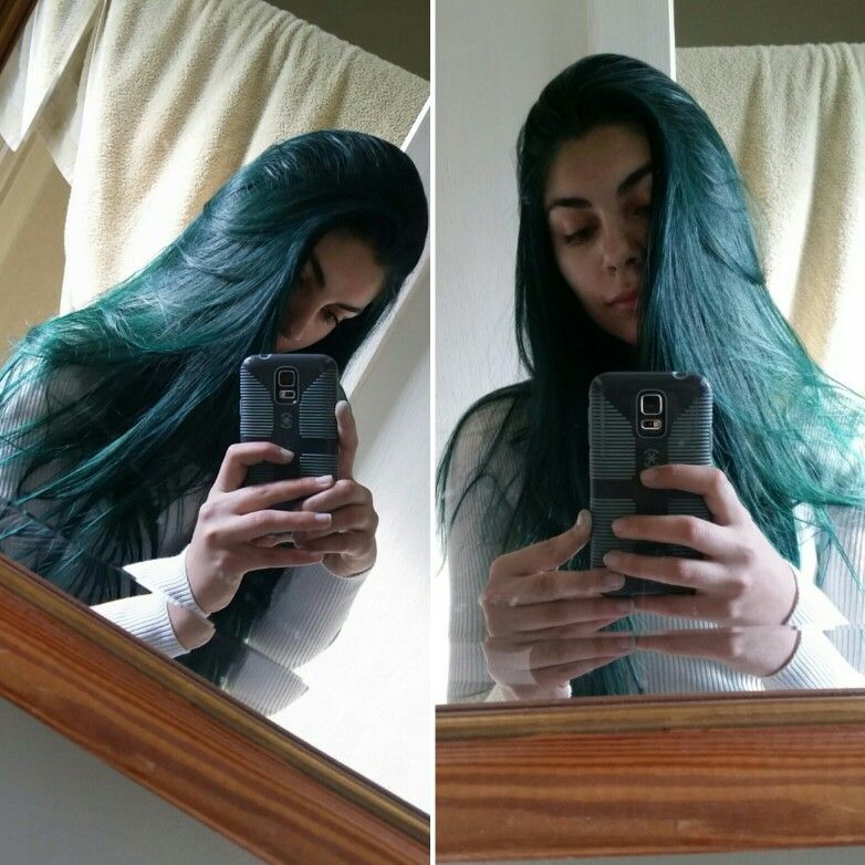 Manic Panic Voodoo Blue Over Medium Brown Hair Unbleached So Happy