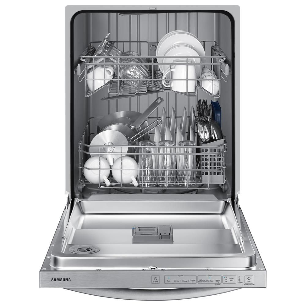 Samsung 24 In Stainless Steel Top Control Built In Tall Tub Dishwasher With Stainless Steel Interior Door And 55 Dba Dw80r2031us The Home Depot Built In Dishwasher Top Control Dishwasher Samsung Stainless Steel