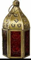 Gypsy Bohemian Metal and Glass Lantern - Brown and Orange $25.00