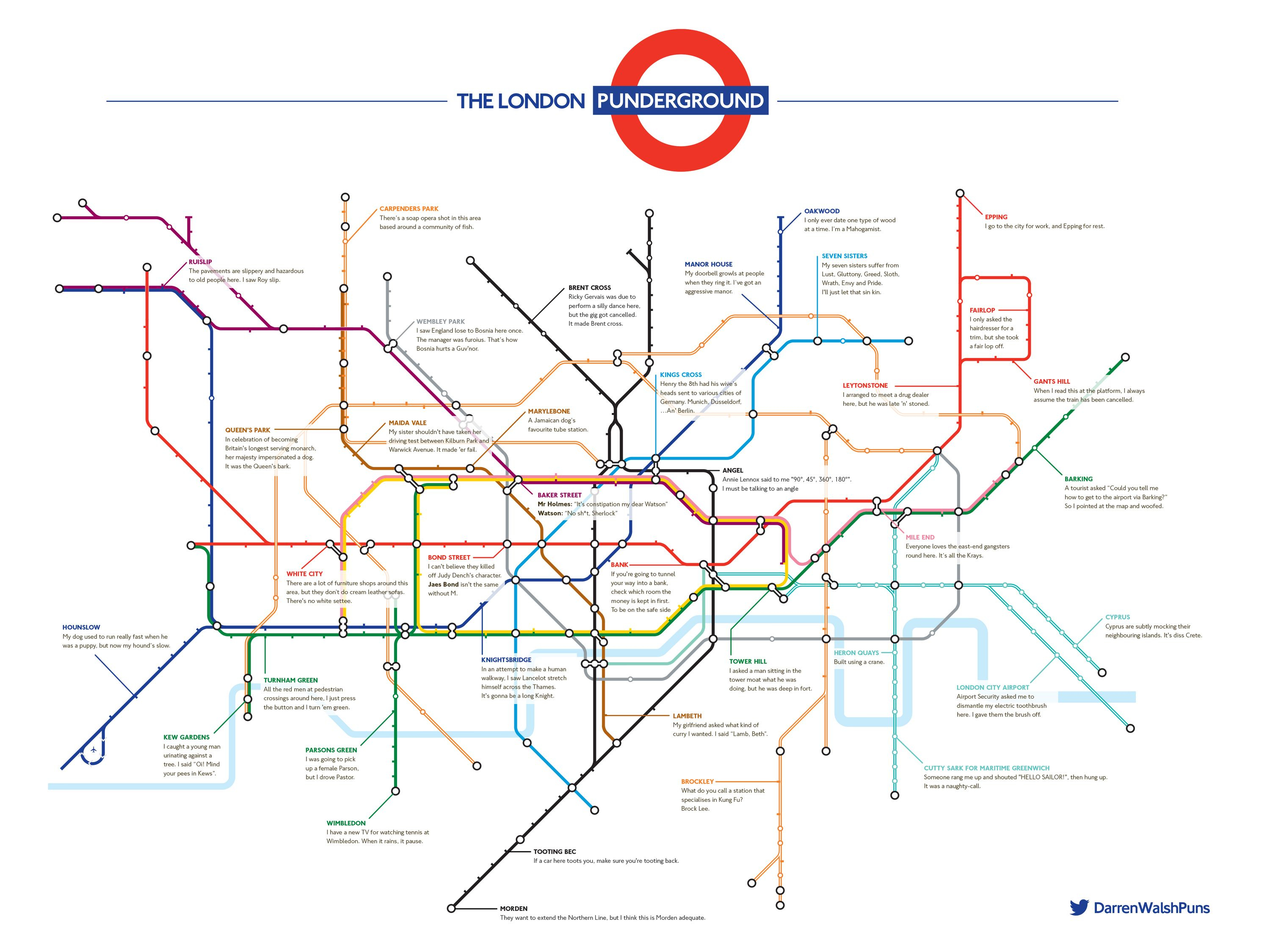 the pun funny london underground tube map
