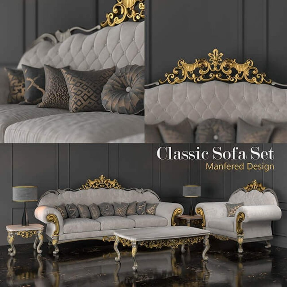 Classic Sofa Set 3d Model For Download Cgsouq Com Classic Sofa Sets Classic Sofa Sofa Set