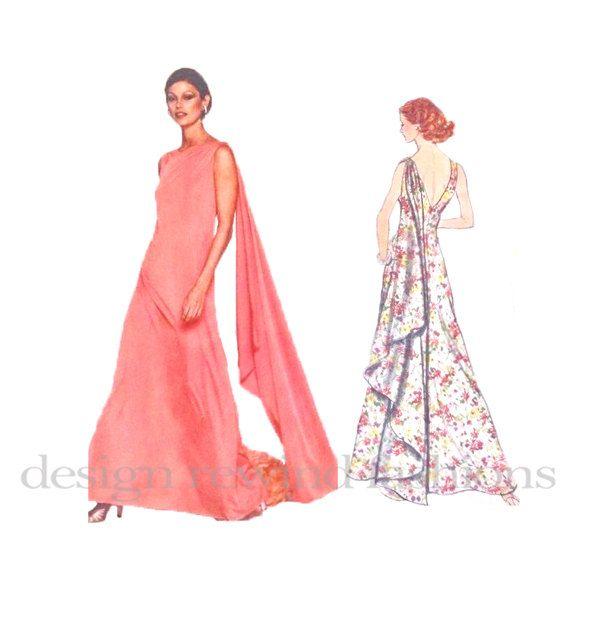 Vogue 1404 EVENING GOWN PATTERN Maxi Dress Pattern 70s Vogue ...