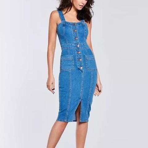 dc1491d076cadd Denim Midi Dress Womens Vintage Buttoned Jeans Dress – Gorgeous Dolls