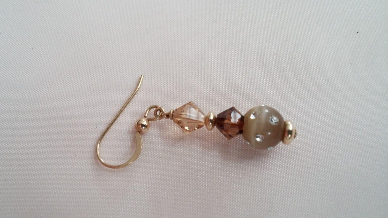 Topaz and Smoky Topaz Swarovski Crystal and Cat's Eye Beaded Dangle Earrings by MamasCraftyCottage on Etsy