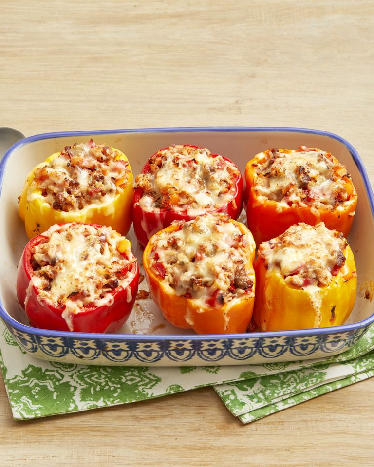 Super Easy Sausage And Rice Stuffed Peppers Recipe In 2020 Stuffed Peppers Stuffed Peppers With Rice Recipes