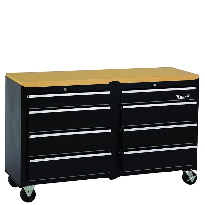 Wide 8 Drawer Standard Duty Ball Bearing Workstation Black Sears Outlet