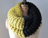 Photo of Items similar to Oversized Cable knit cowl mustard yellow Infinity scarf on Etsy