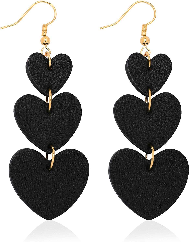 Photo of Jagucho Leather Earrings Dangle Lightweight Heart Earrings Drop Teen Color Blue 42