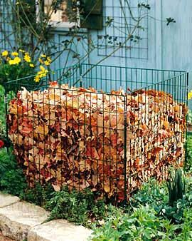 simple wire compost bin with good aeration great for making leaf mould with fallen leaves