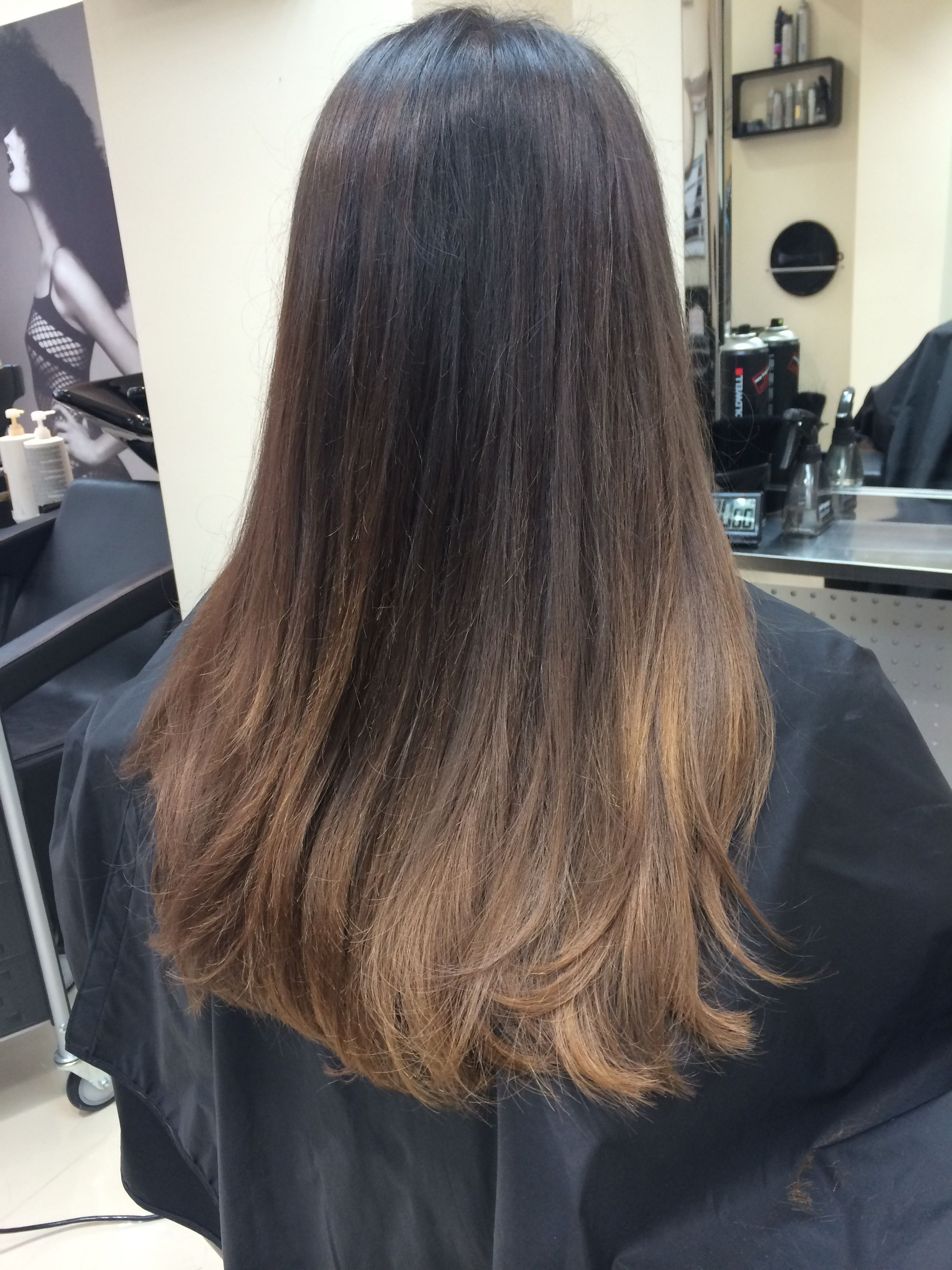 Caramel ombré with natural medium brown hair 後ろ髪ひかれ隊