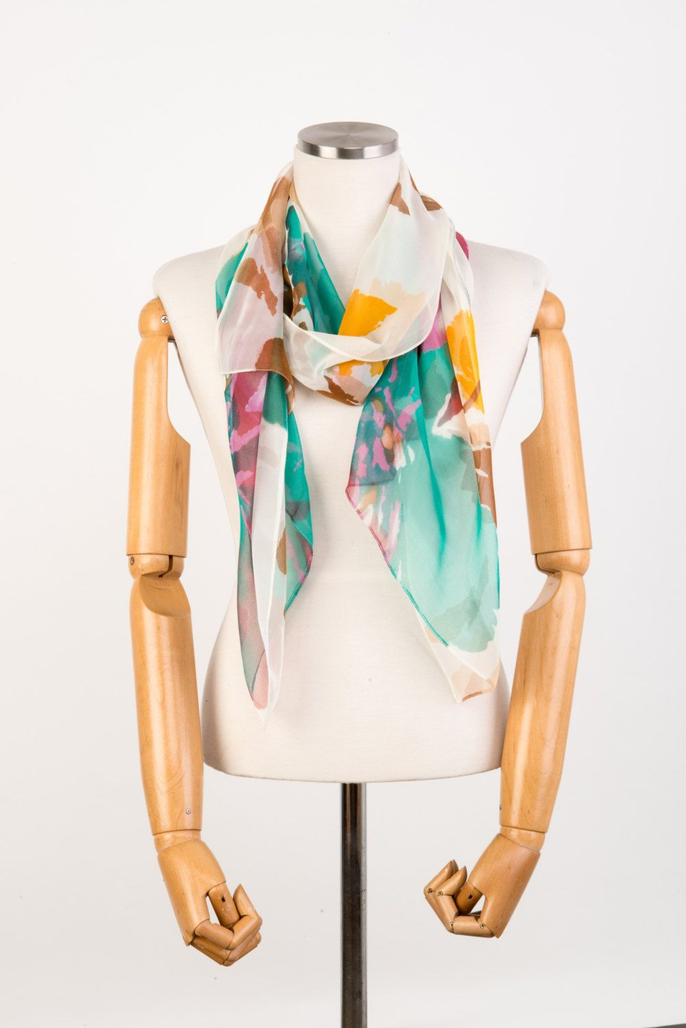 Fashion Infinity Scarf, Green Silk Lightweight Chiffon Scarf, Silk Scarves Romantopia. Gift for her. Made to order. by LEOKOXX on Etsy