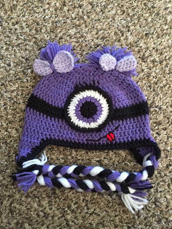 Purple Minion Hat Charecter Hat Evil By Debbyscrochetbowteek Hats