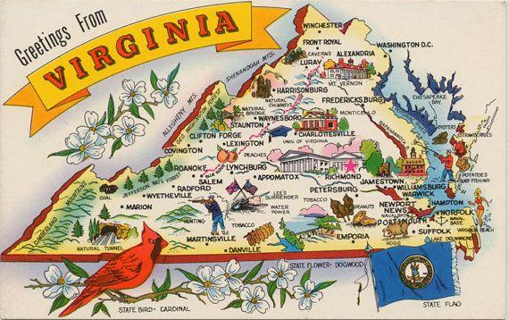 Virginia State Map Vintage Chrome Postcard Vintage Usa State Map