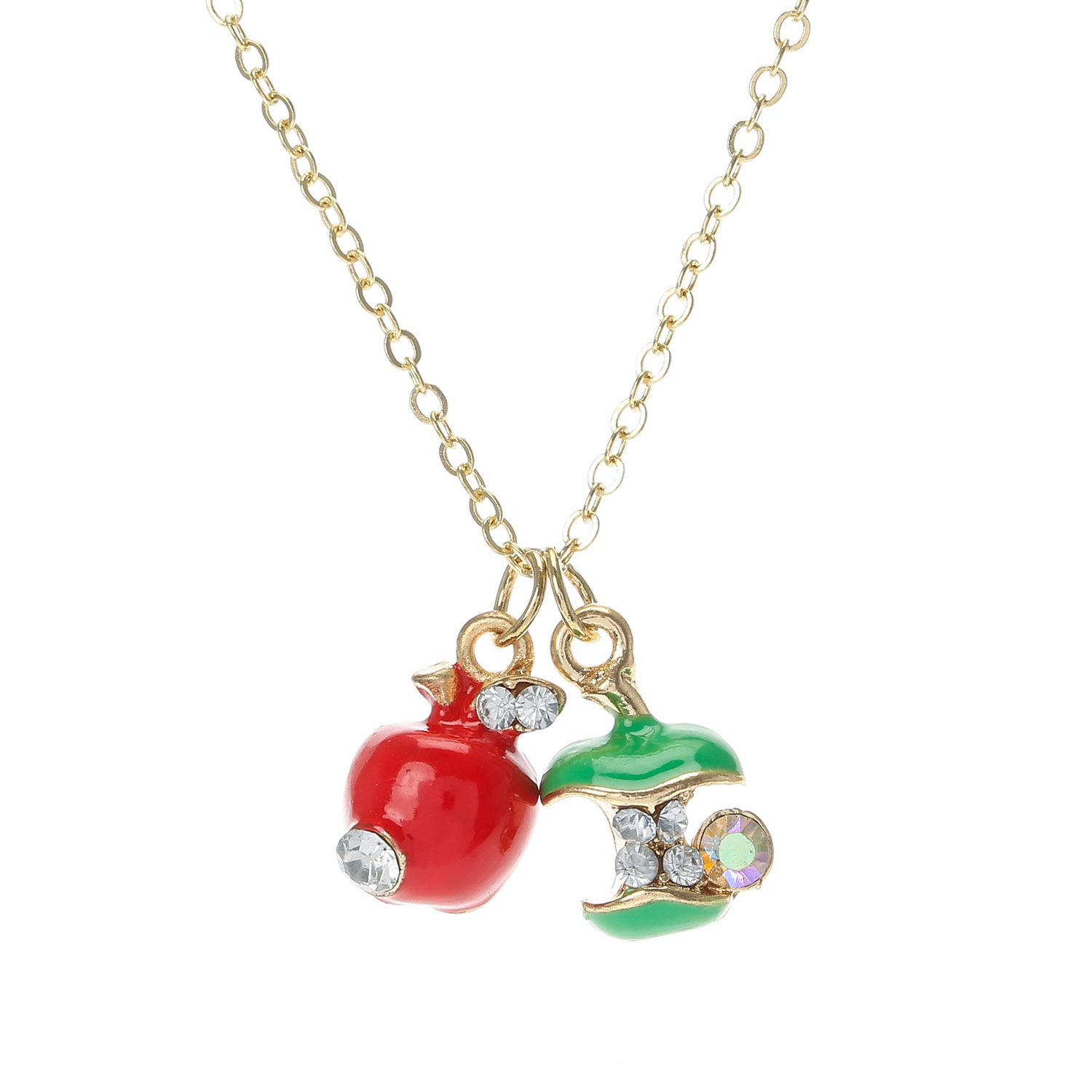 Crystal Apple Pendant Necklace