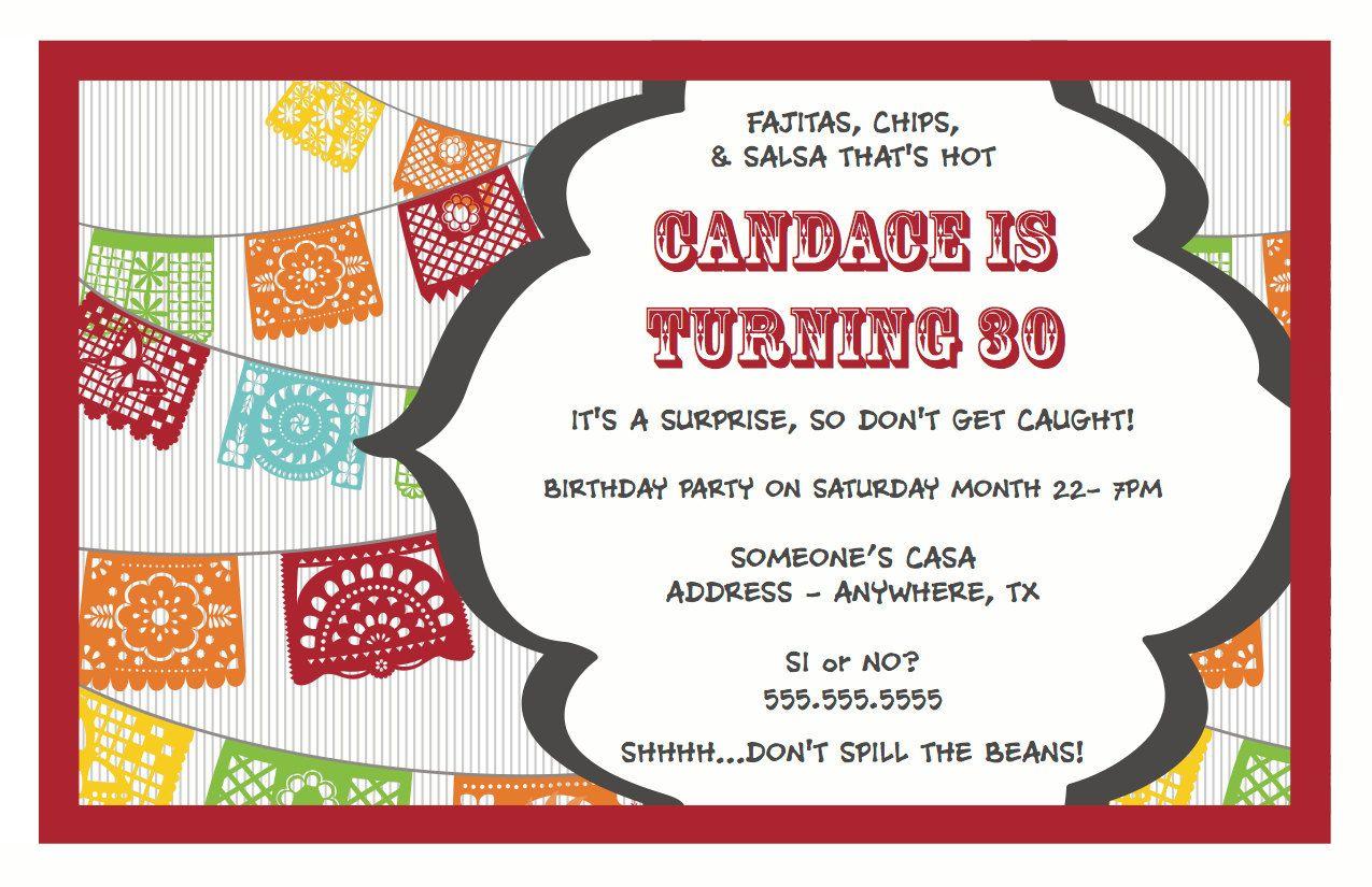 fiesta salsa surprise birthday party invitation