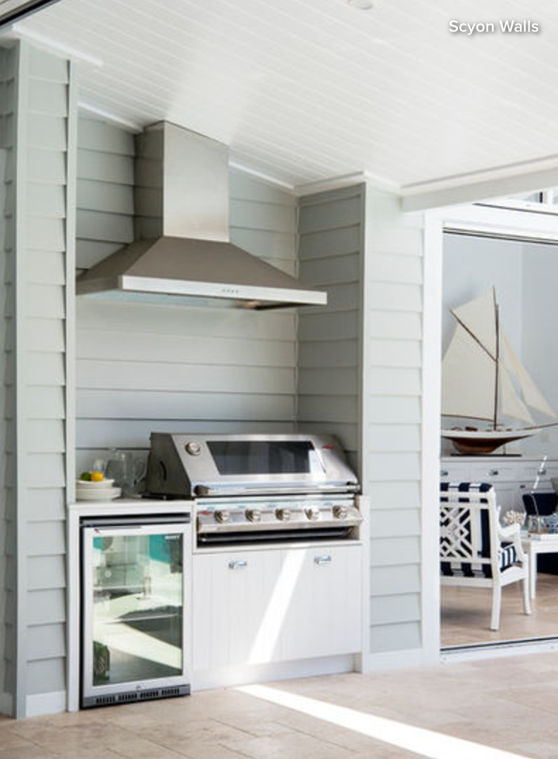 This set-up, complete with barbecue, range hood and fridge, proves ...