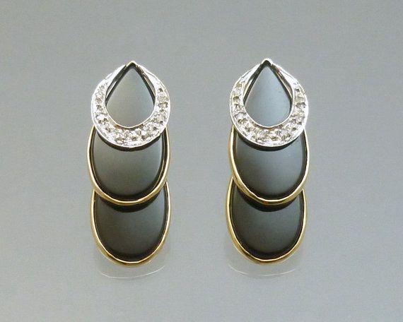 Vintage Onyx Diamond 14K Gold Earrings  by LoriBilodeauAntiques