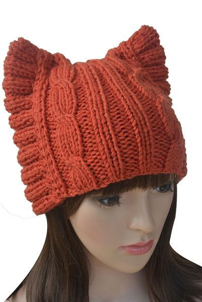 Handmade Cat Ears Knitted Hat (With images) | Knitted hats ...