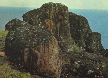 Numerous carvings of the Bird-Man, some showing him  with egg in hand  on the cliff top at Orongo, Easter Island