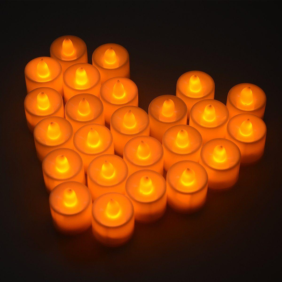 Set of Flickering Flameless LED Candle Light Tea light Amber