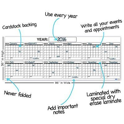 Best EXTRA LARGE 12 MONTH Dry Erase Wall Calendar Planner - best sales plan