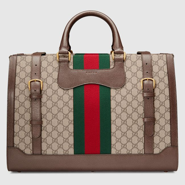 GG Supreme duffle with Web - Gucci Men s Suitcases   Duffle Bags  437544K05NT8686 d6f62738368