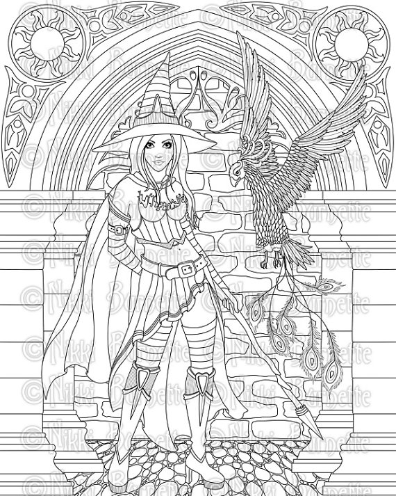 witch coloring pages for adults Digital Stamp   Printable Coloring Page   Witch Stamp   Adult  witch coloring pages for adults