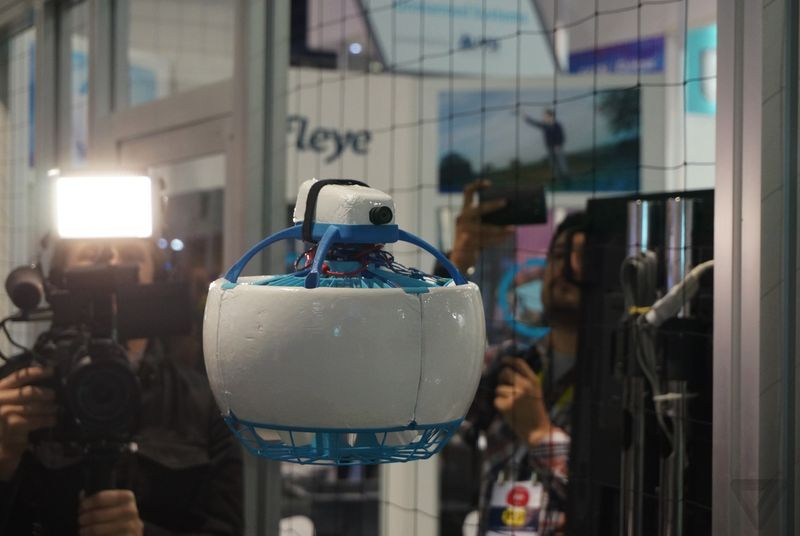 This soccer ball-shaped drone cant chop your fingers off  Theres a section of the South Hall at CES 2016 that is filled with an insectoid buzzing and dozens of nets. Its the drone zone and nearly every single one you see there has four or more rotors. But theres at least one that has well just one rotor: the Fleye. Its one of the manyKickstarter success stories here at CES having surpassed its funding goal with time to spare. More importantly (especially when it comes to Kickstarters) it…