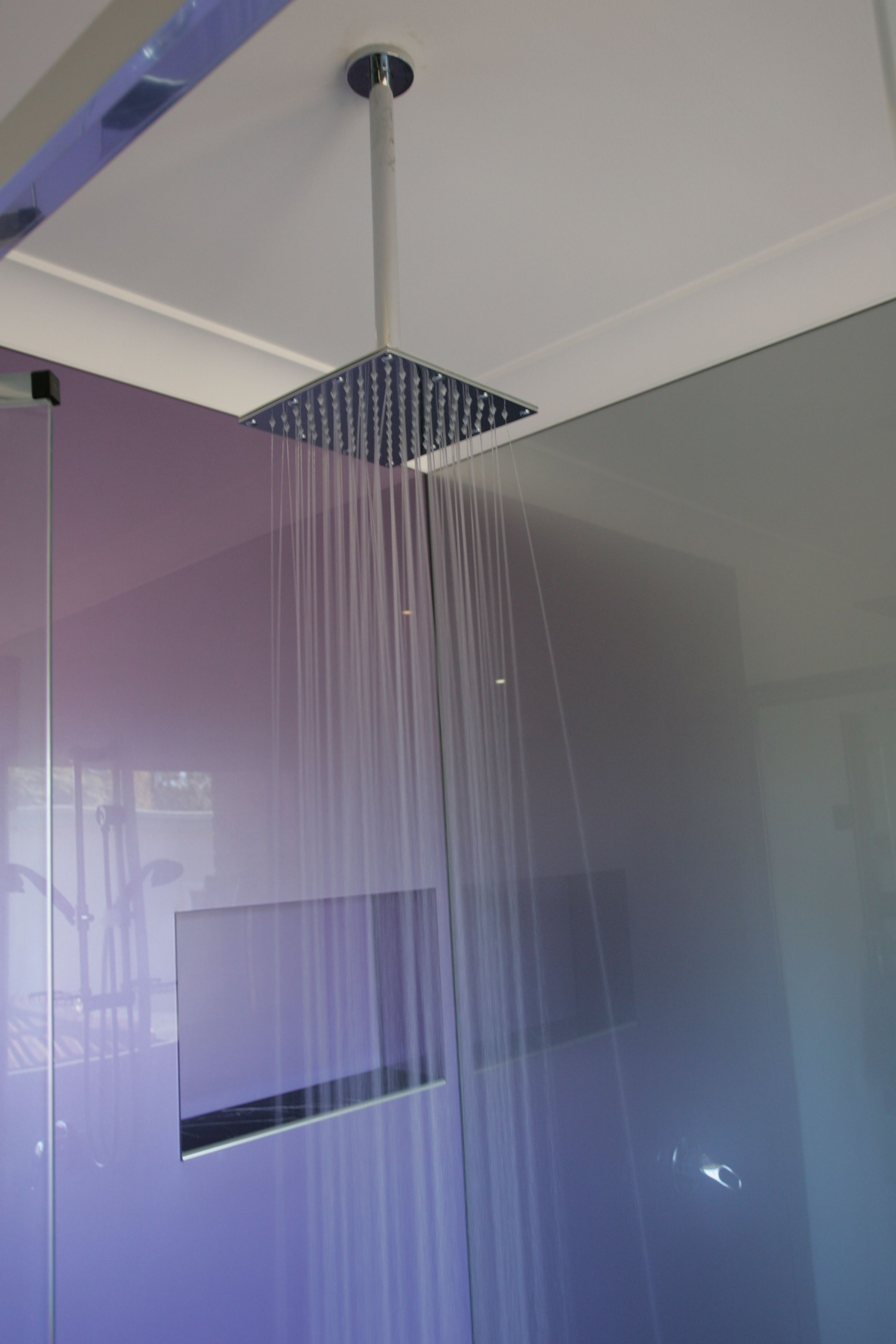 Acrylic Splashback Shower walls in two colours, silver and Amethyst ...